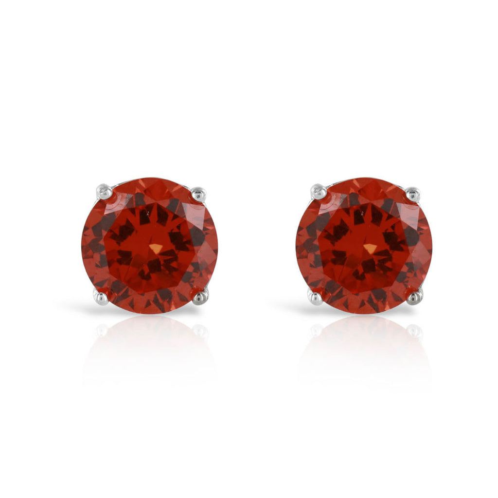 Ruby Red Sterling Silver Stud Earrings