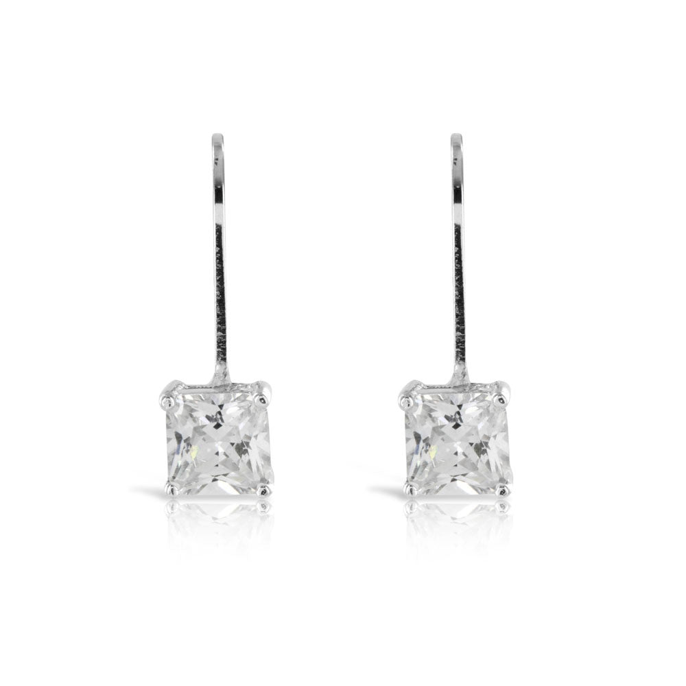 Princess Cut Drop Earrings - www.sparklingjewellery.com