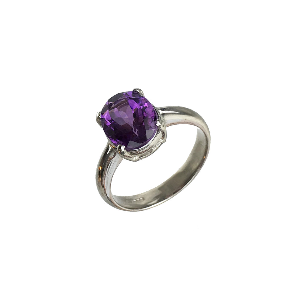 Oval Amethyst Purple Ring