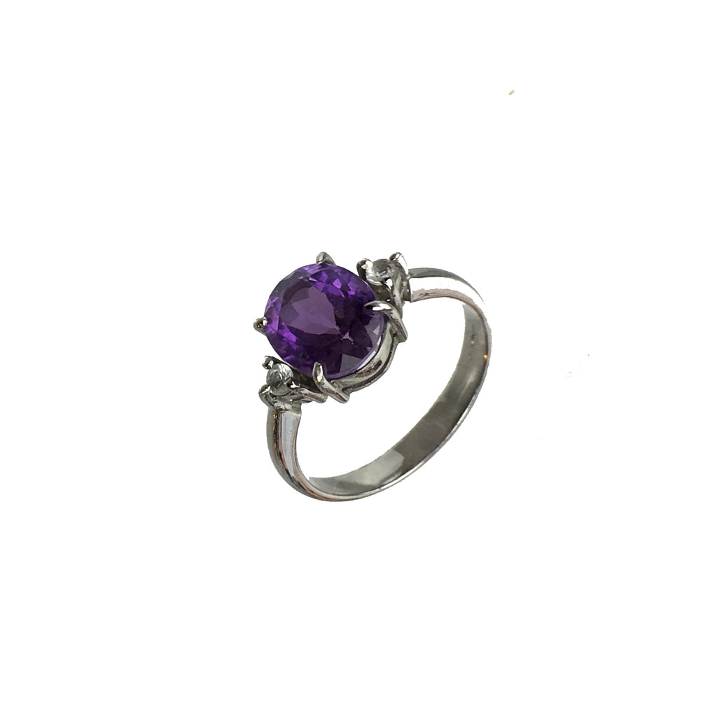 Oval Amethyst and White Topaz Dress Ring - www.sparklingjewellery.com