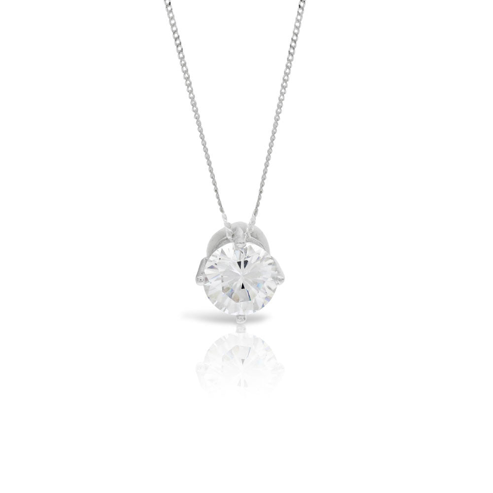 Single Silver Solitaire Pendant