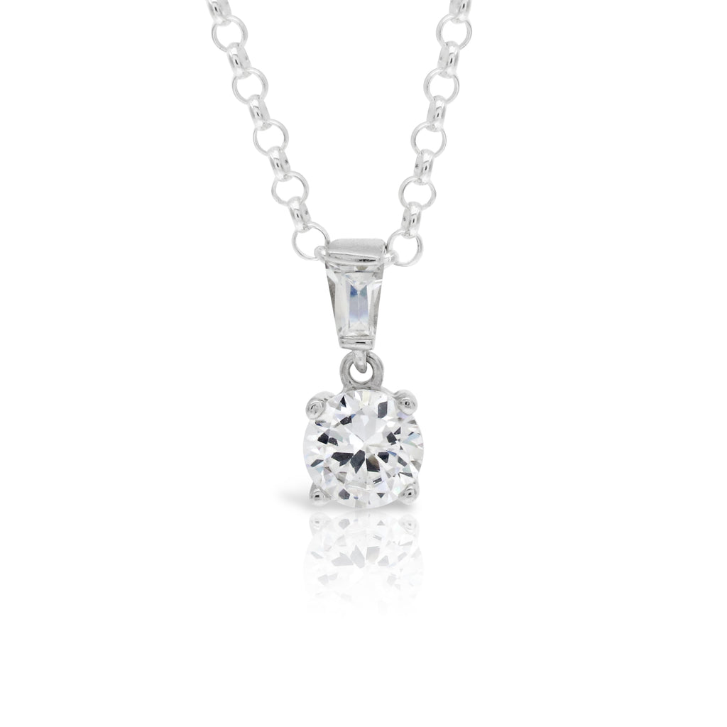 One Carat Simulated Diamond Pendant - www.sparklingjewellery.com
