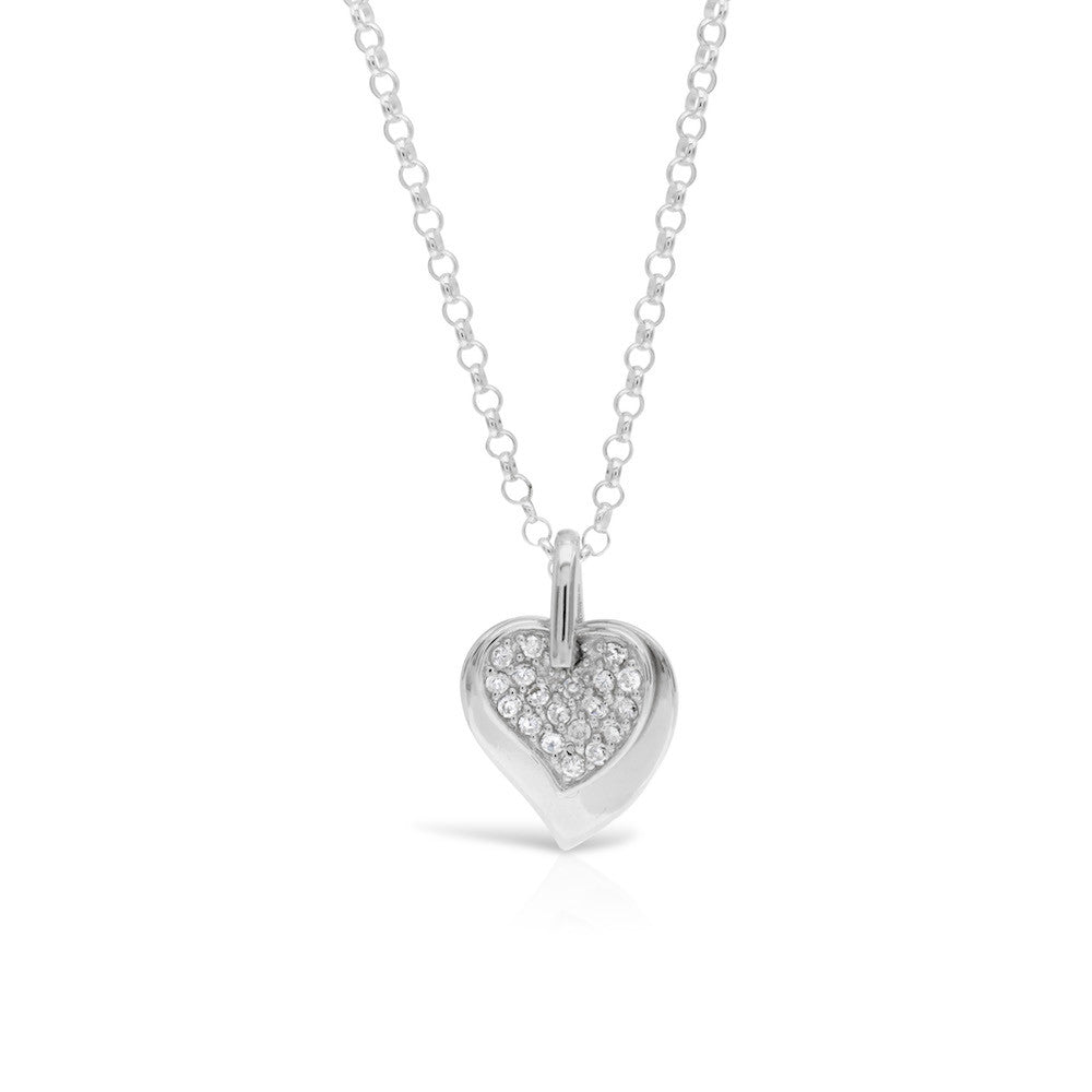 Pave Silver Heart on Heart Pendant