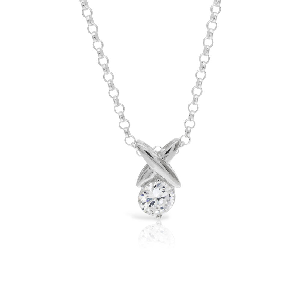 Silver Kiss Solitaire Pendant Clear - www.sparklingjewellery.com
