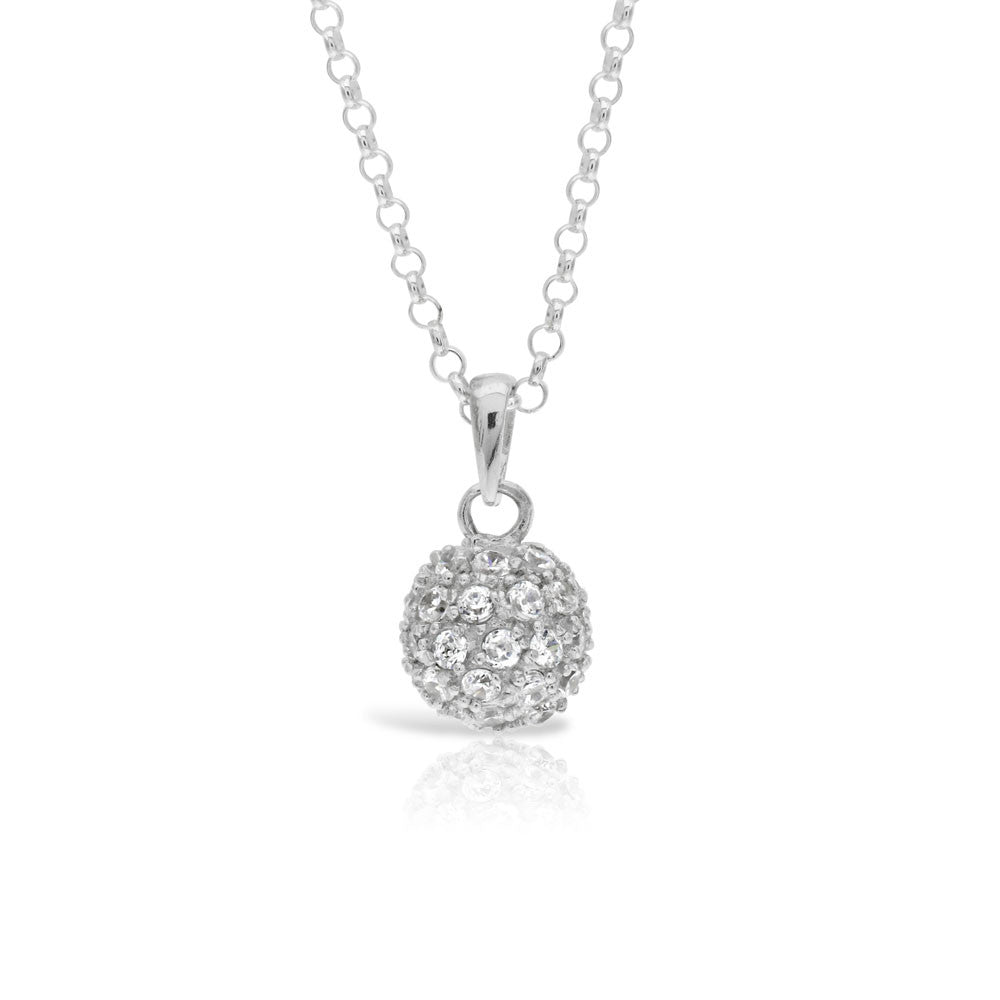 Silver Disco Ball Necklace