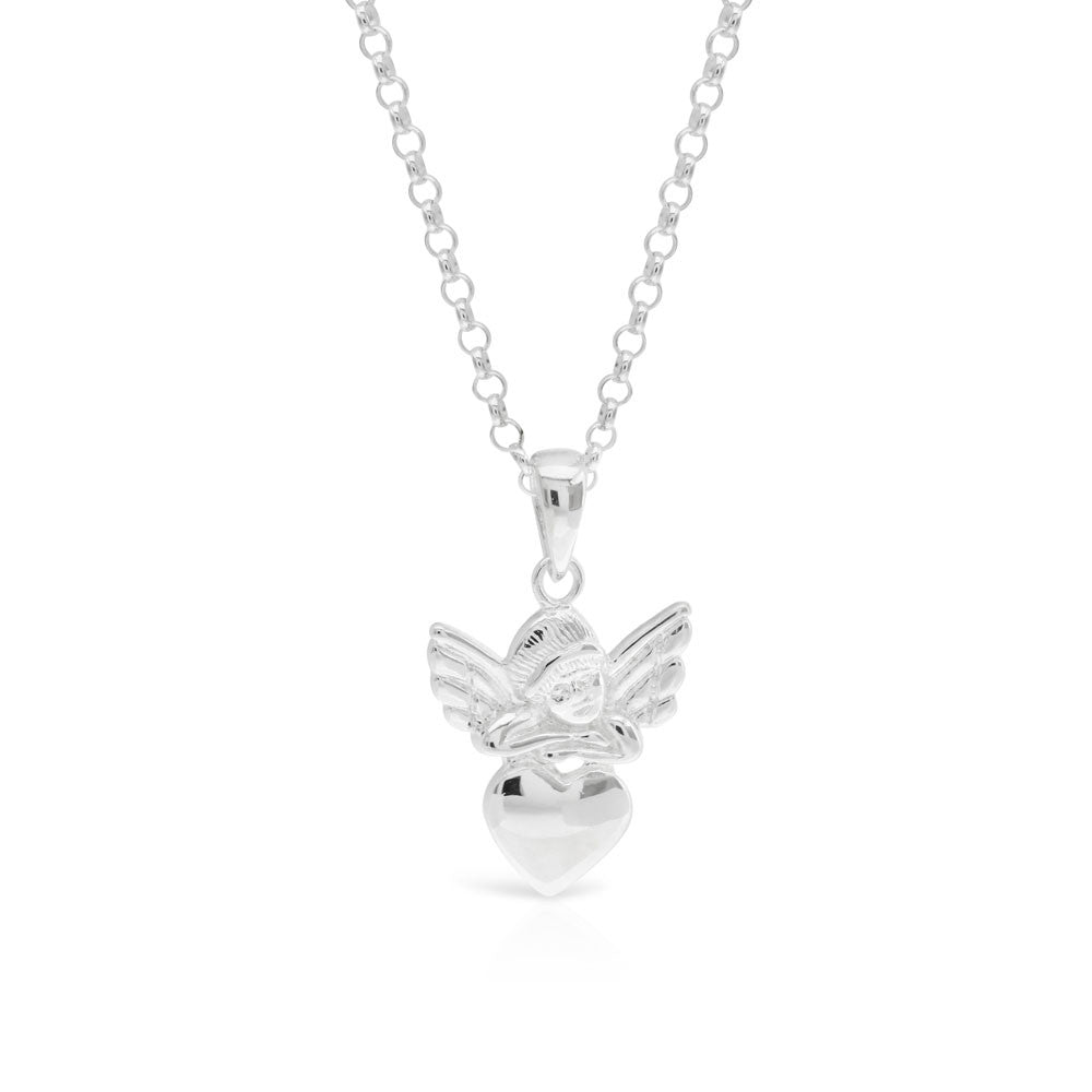 Silver Guardian Angel Heart Pendant