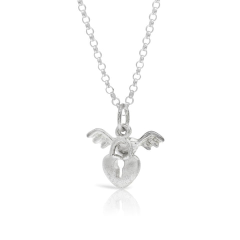 Angel Wing Key Heart Pendant Sterling Silver