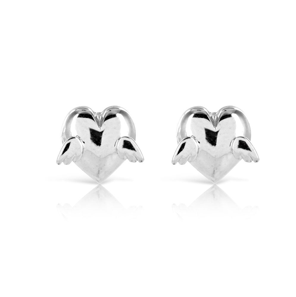 Sterling Silver Angel Heart Wing Earrings - www.sparklingjewellery.com