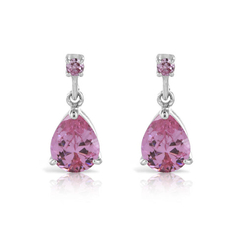 Sterling Silver Pink Sapphire Pear Cut Earrings
