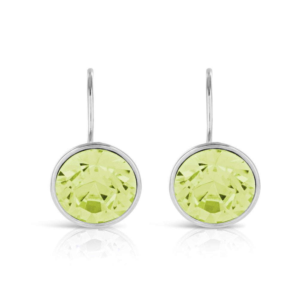 Olive Green Bling Crystal Earrings - www.sparklingjewellery.com