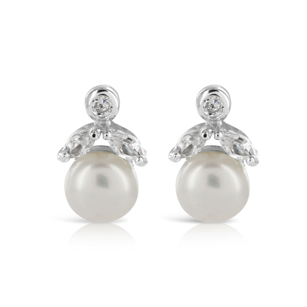 Pearl Round Bridal Stud Earrings - www.sparklingjewellery.com