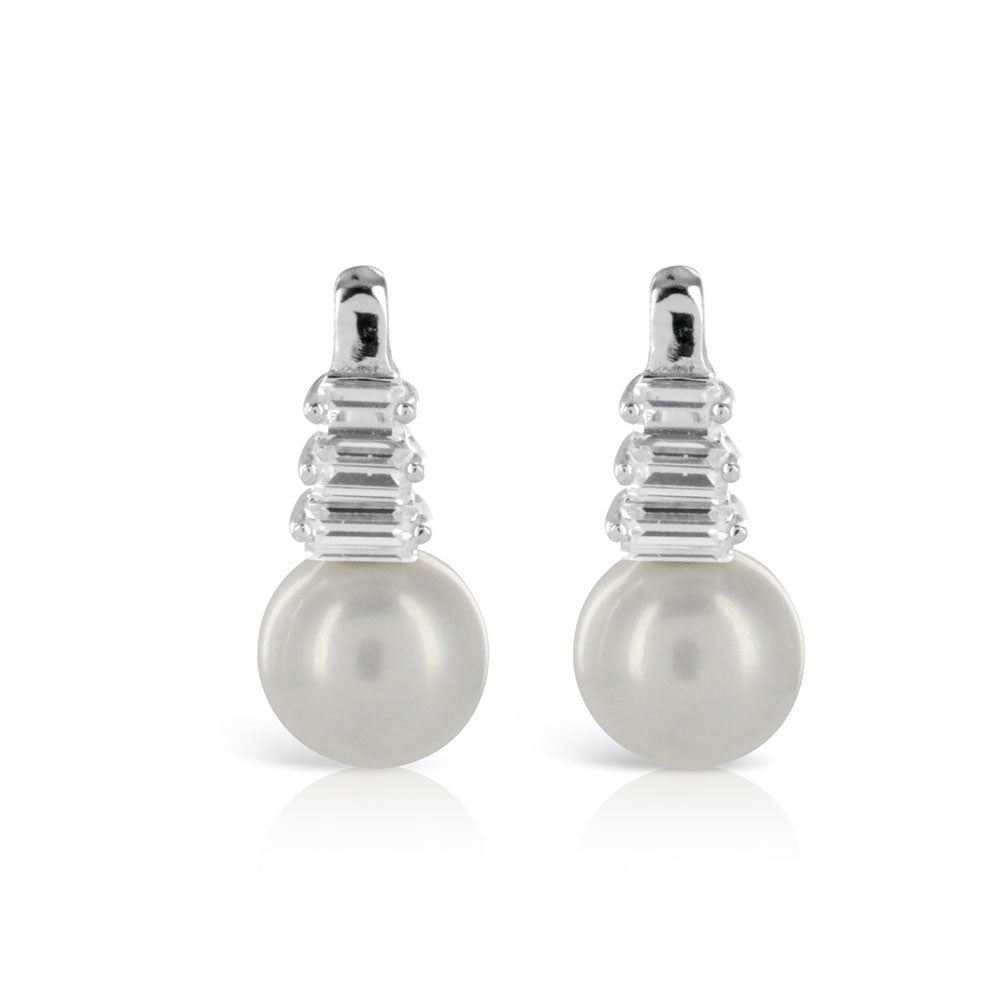 Silver Pearl and Baguette Earrings