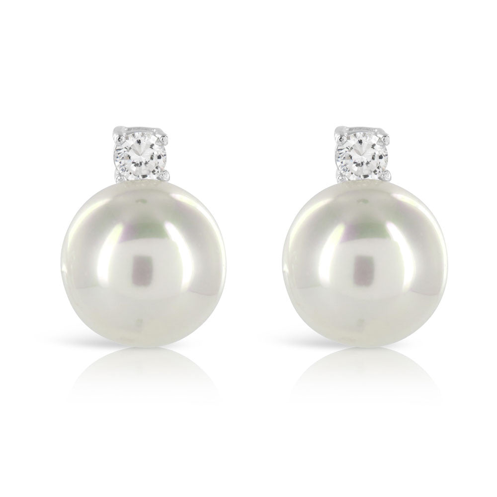 Classic Pearl Simulated Diamond Earrings - www.sparklingjewellery.com