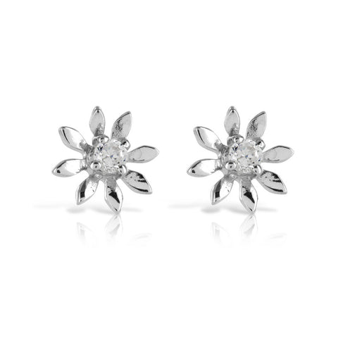 Gerbra Flower Silver Earrings - www.sparklingjewellery.com
