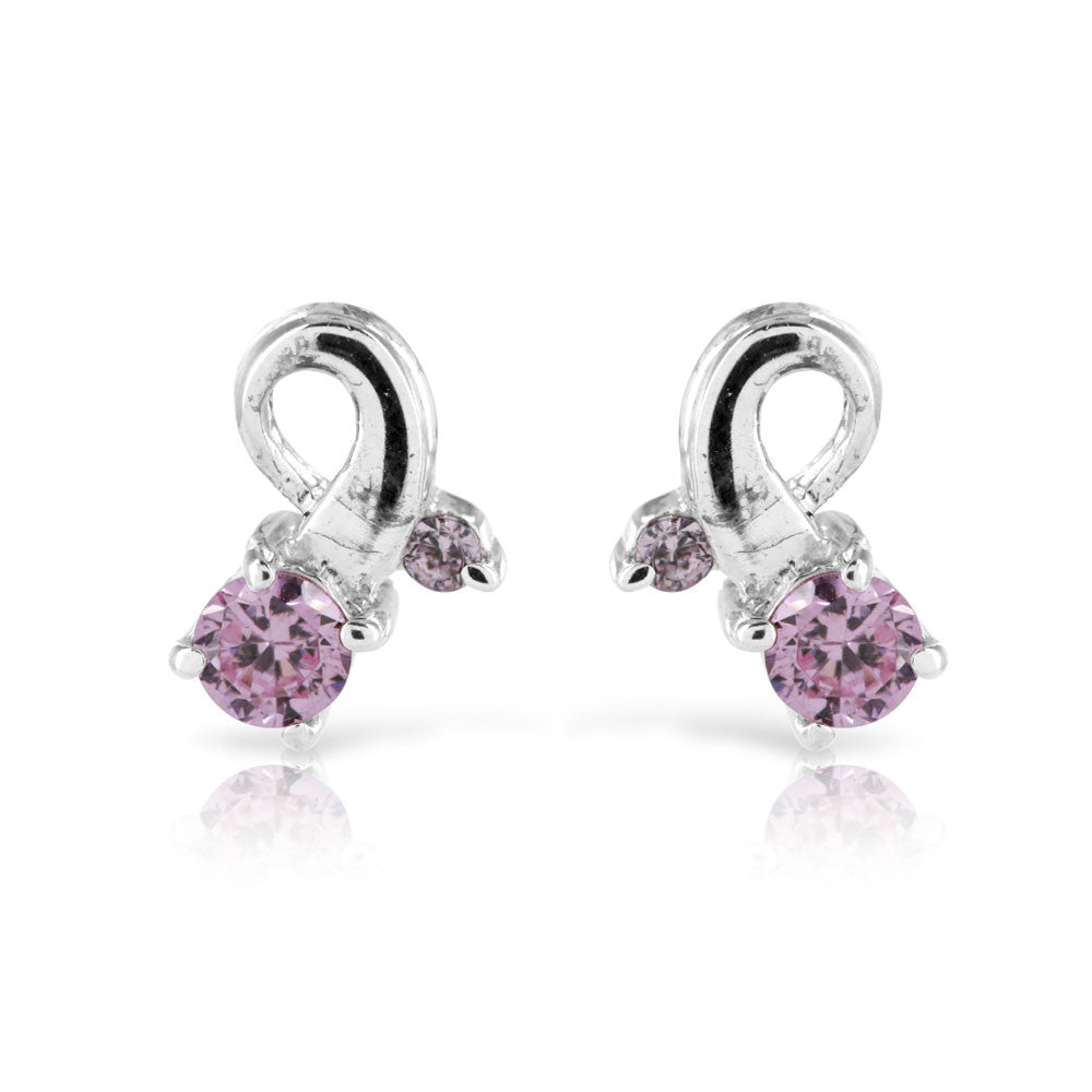 Pink Sapphire Twist Earrings - www.sparklingjewellery.com