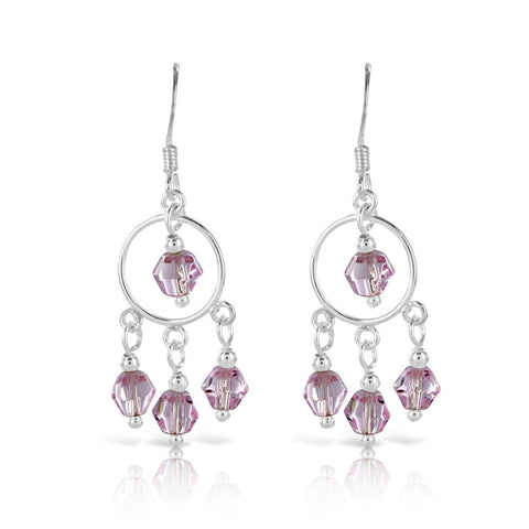 Pink Dream Catcher Silver Earrings