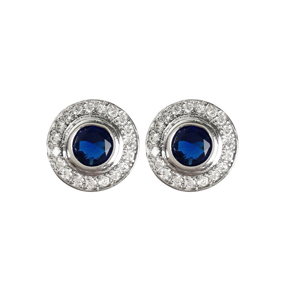 Sapphire Blue Silver Halo Circle Earrings - www.sparklingjewellery.com
