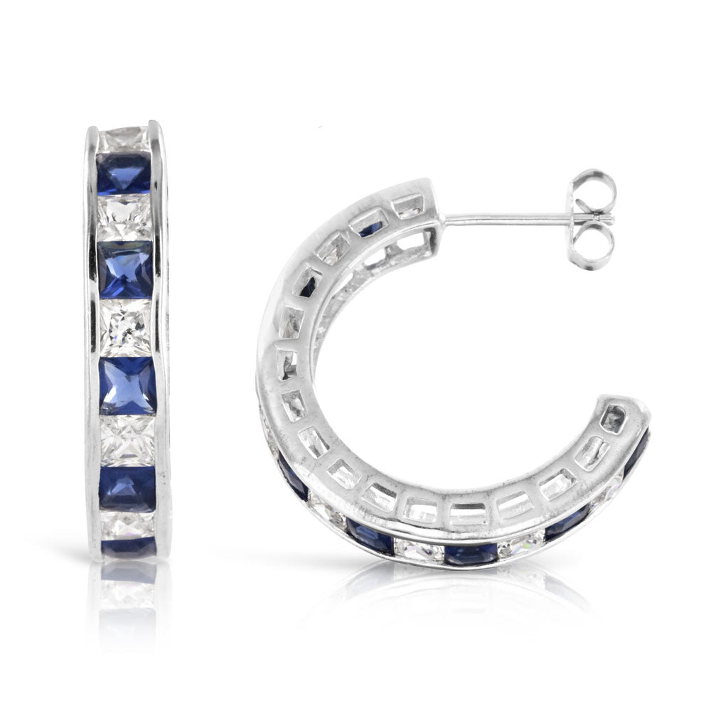 Sapphire Blue and Diamond Silver Half Hoop Earrings