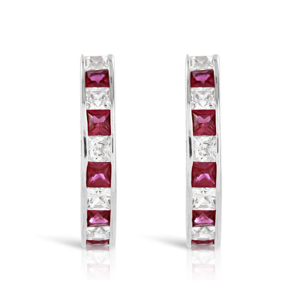 Sterling Silver Ruby Half Hoop Earrings