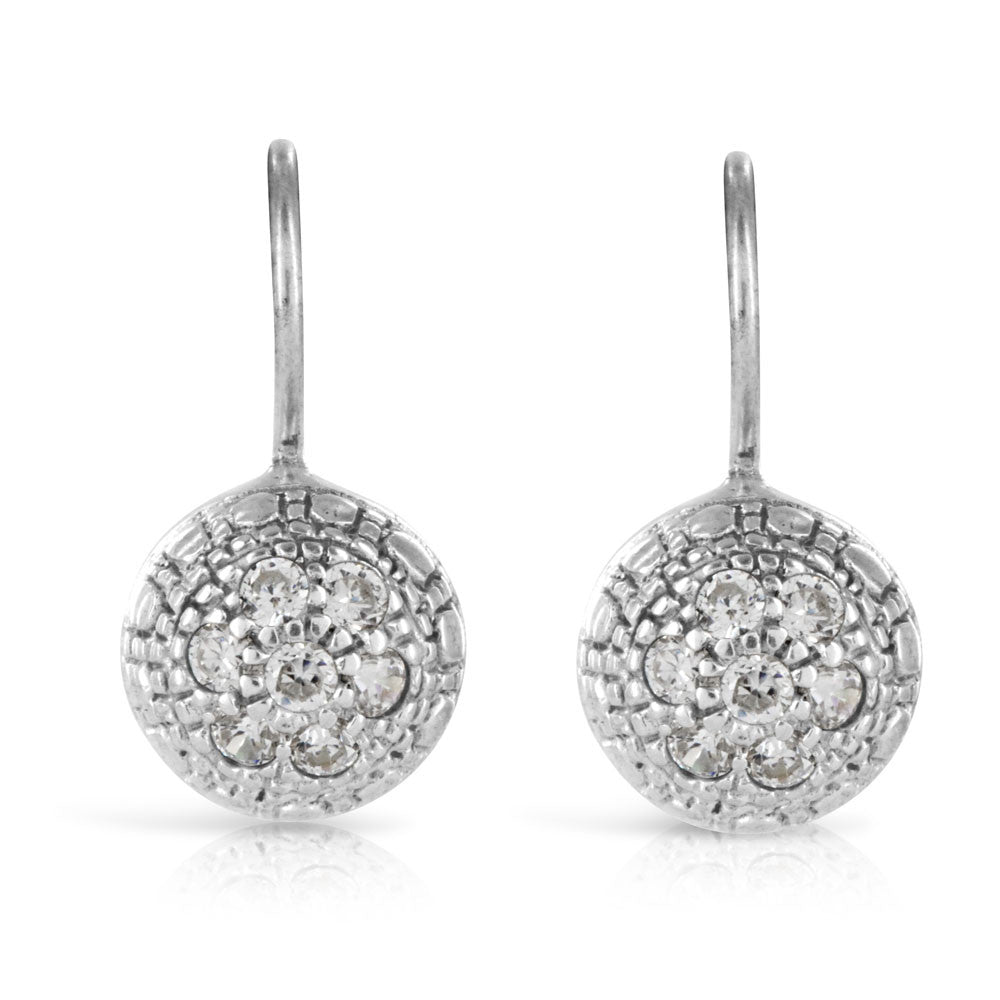 Dome Pave Silver Earrings - www.sparklingjewellery.com