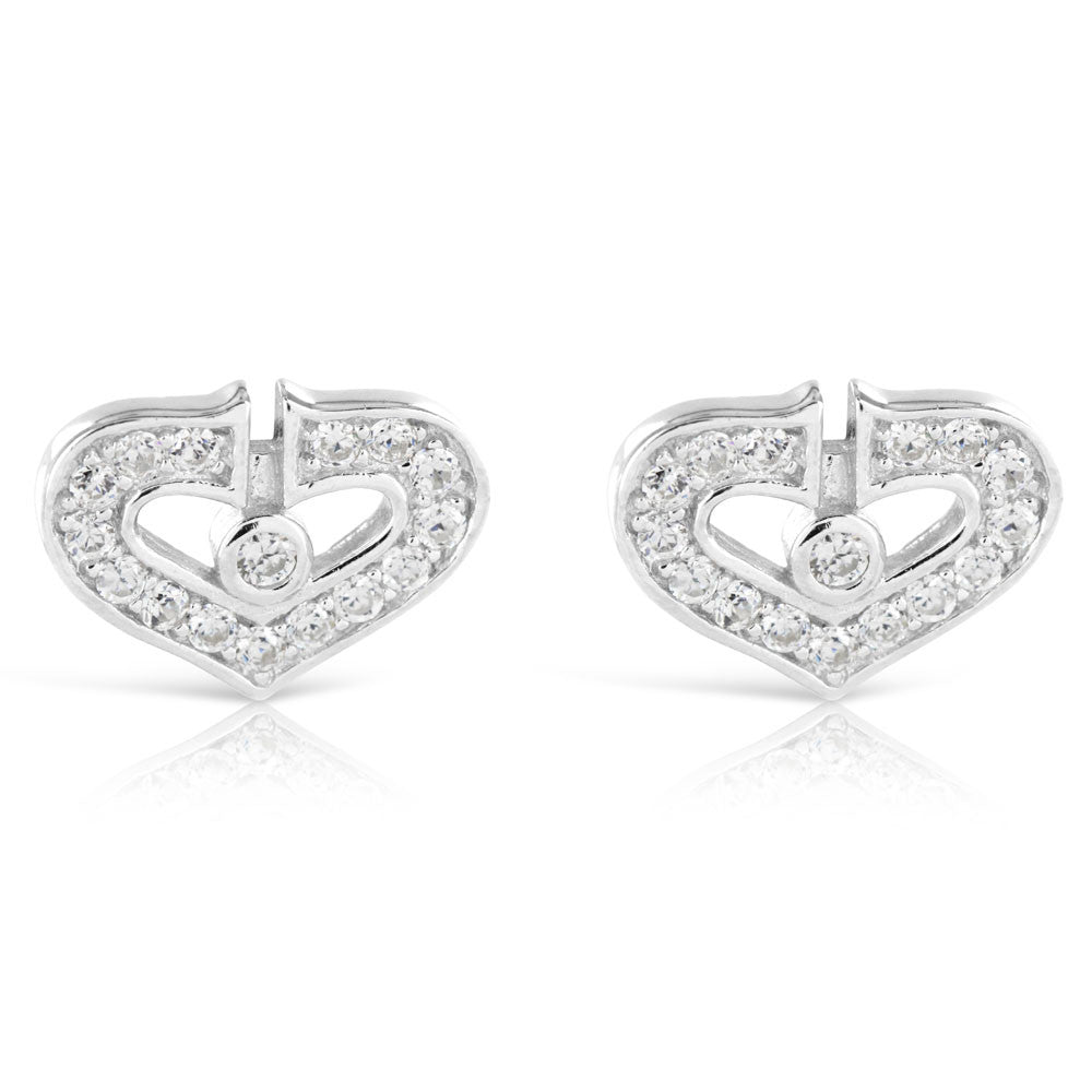 Sterling Silver Valentine Love Heart Earrings