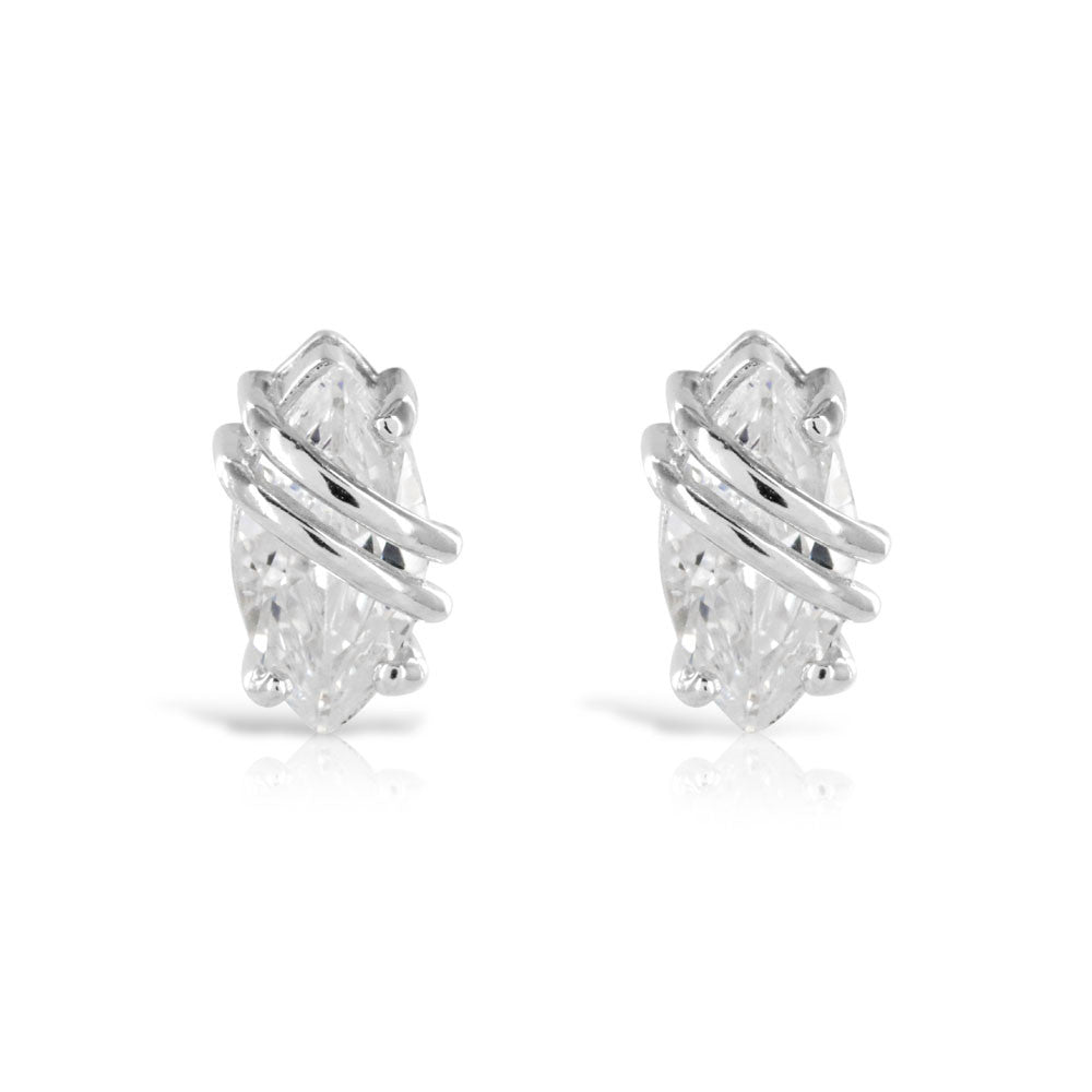Silver Marquise Earrings - www.sparklingjewellery.com