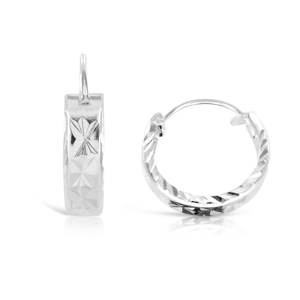 Small Diamond Cut Hoop Silver Earrings
