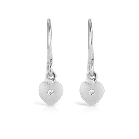 Silver Heart Dangle Earrings - www.sparklingjewellery.com