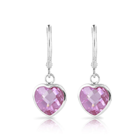 Pink Heart Cushion Earrings - www.sparklingjewellery.com