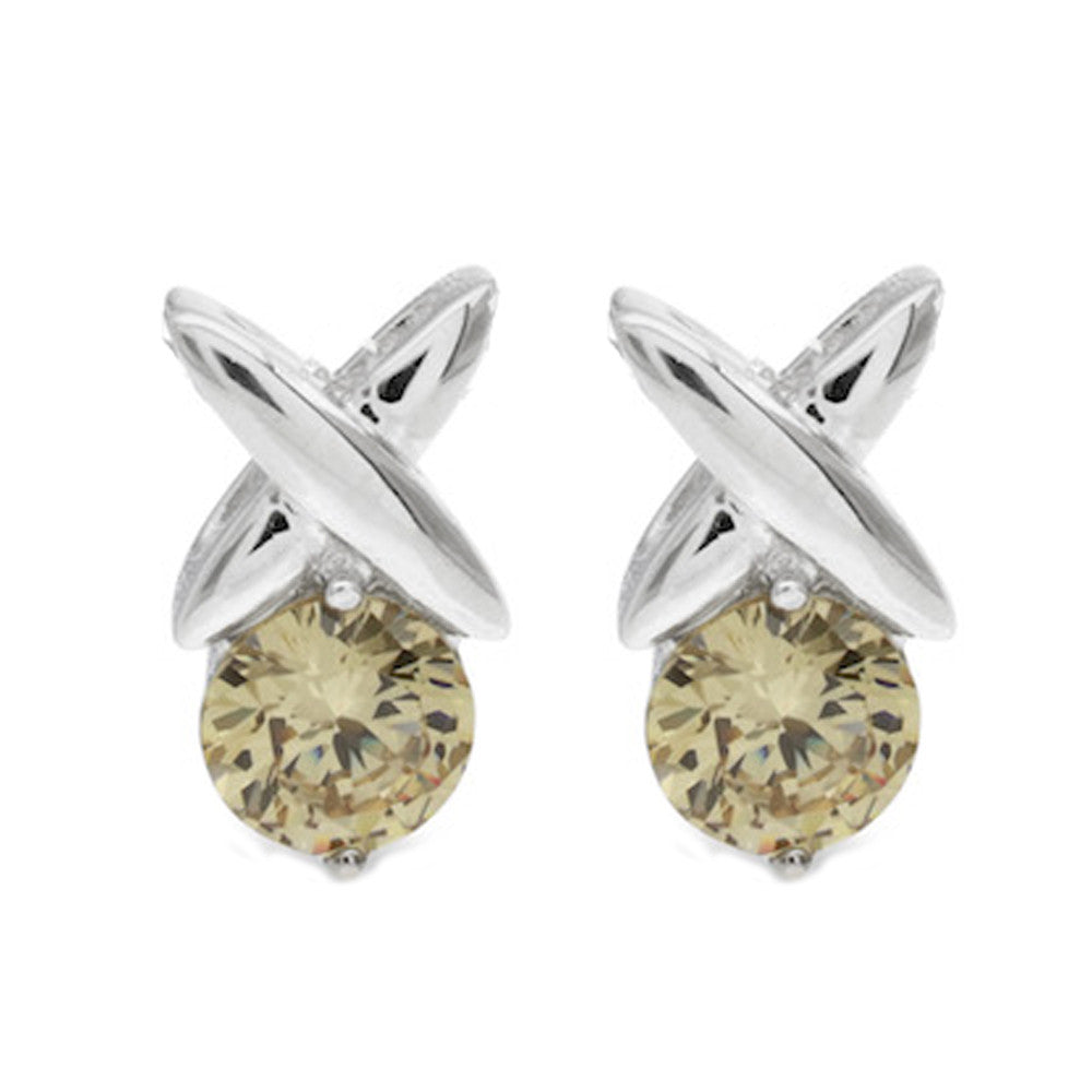 Champagne Kiss Silver Stud Earrings - www.sparklingjewellery.com