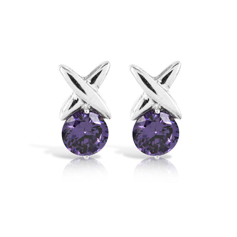 Amethyst Hug & Kiss Earrings - www.sparklingjewellery.com