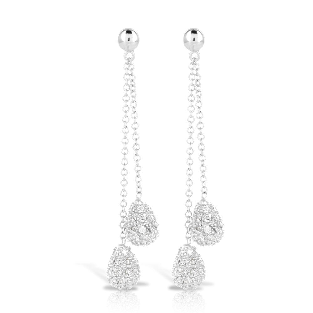 Pave Luxury Drop Silver Earrings - www.sparklingjewellery.com