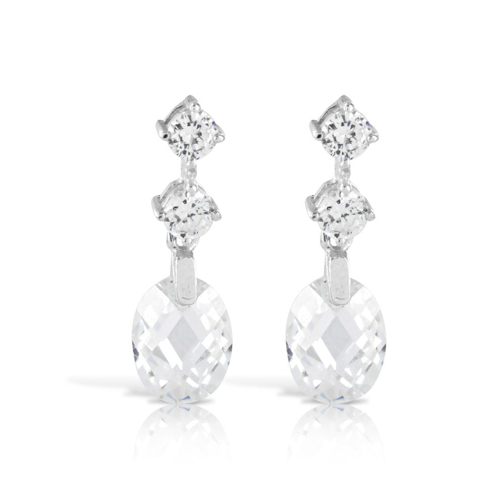 Silver Wedding Cushion Cut Earrings