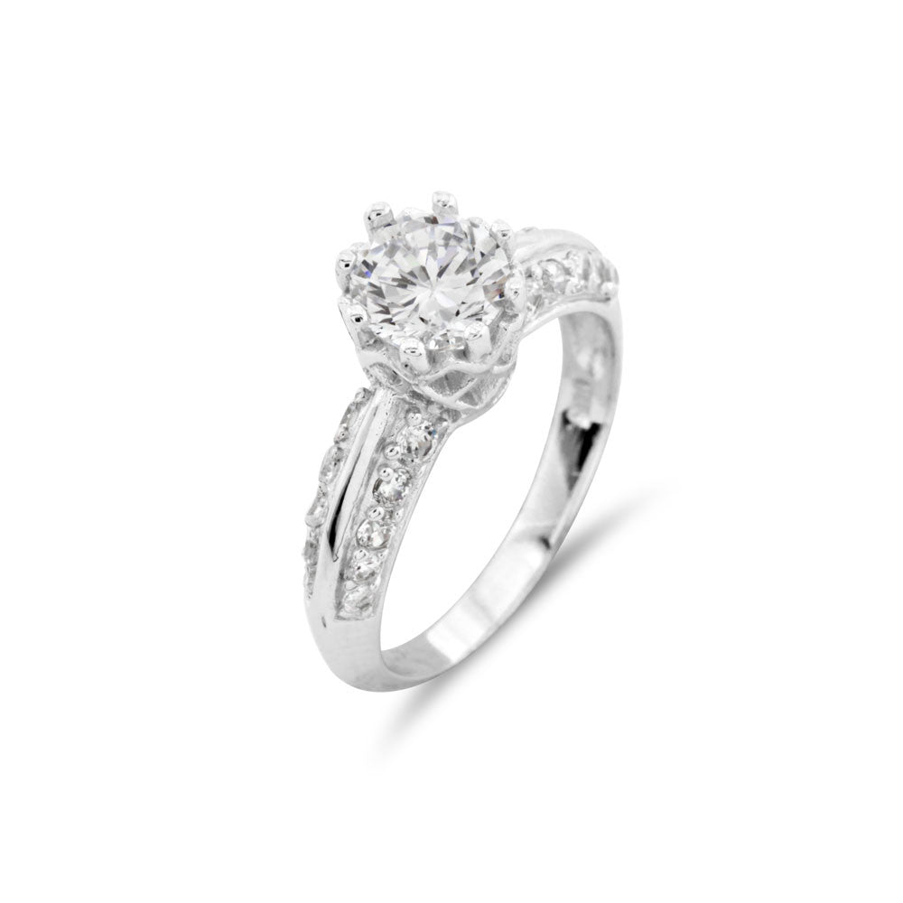 Ornate Silver Engagement Ring - www.sparklingjewellery.com
