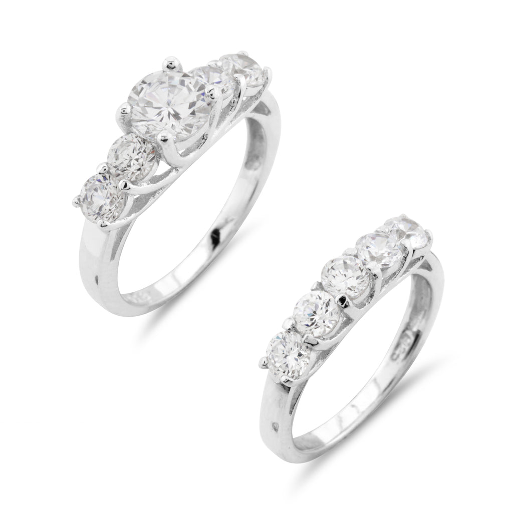 Wedding and Engagement Ring Set Sterling Silver - www.sparklingjewellery.com