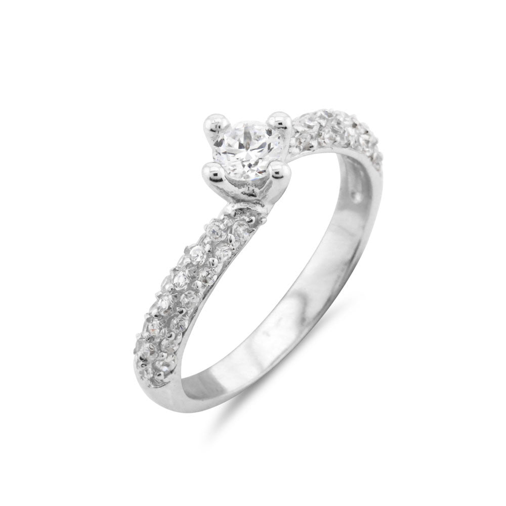 Silver Pave Solitaire Ring - www.sparklingjewellery.com