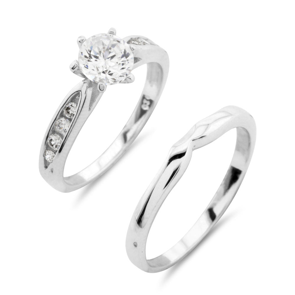 Engagement and Wedding Ring Set - www.sparklingjewellery.com