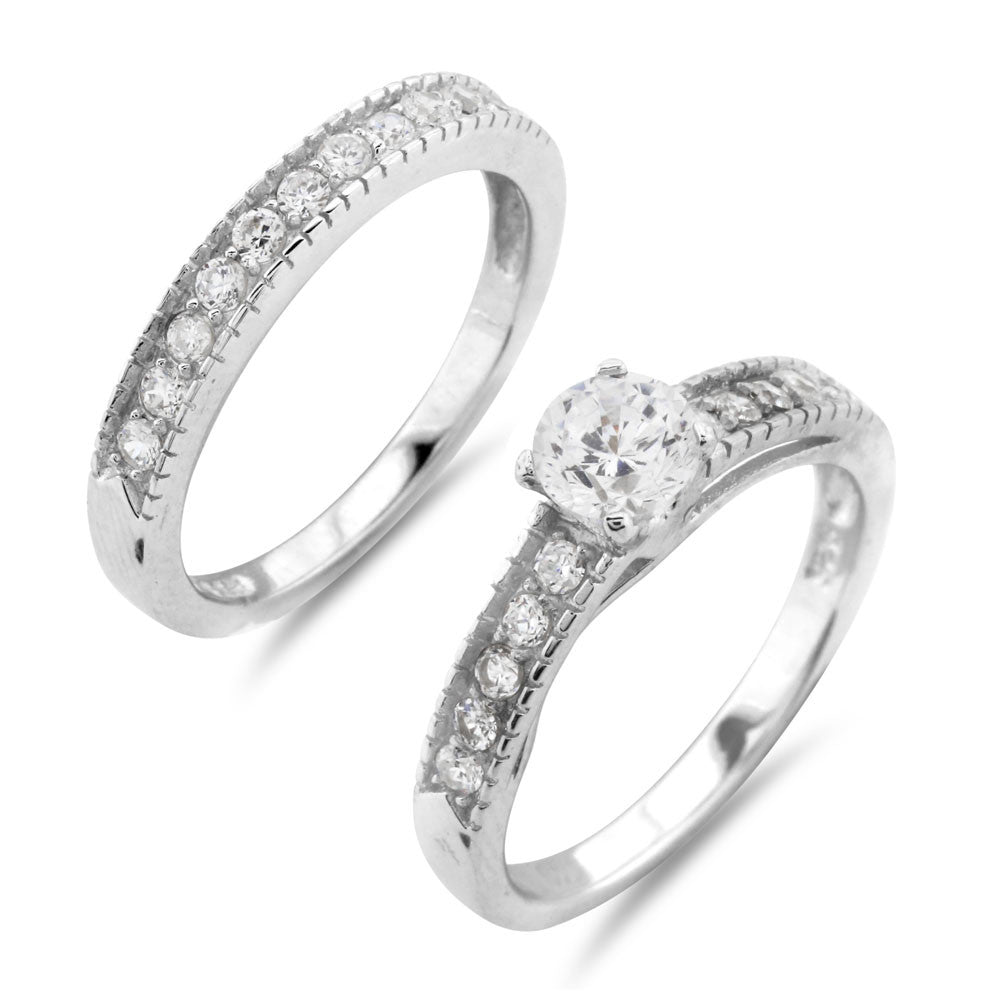 1950's Style Wedding Ring Set - www.sparklingjewellery.com
