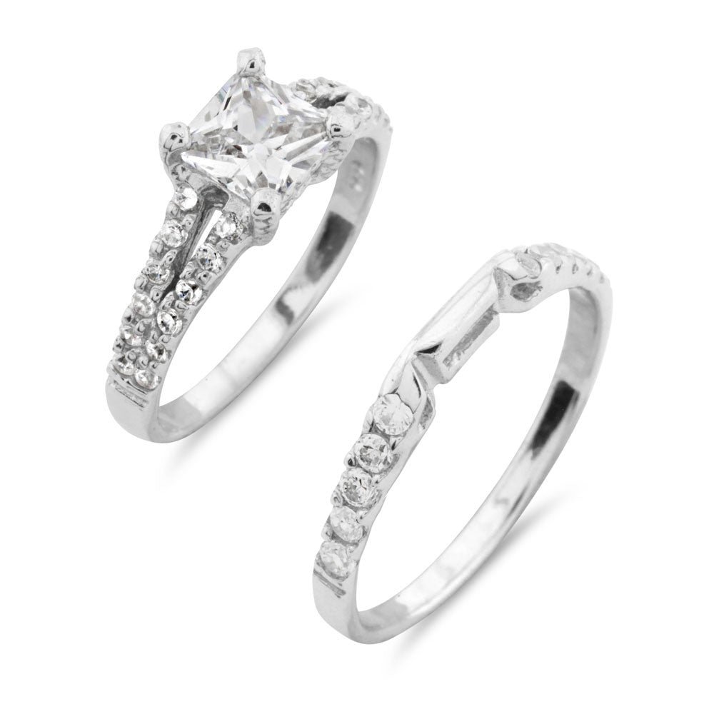 Silver Wedding Ring Set - www.sparklingjewellery.com