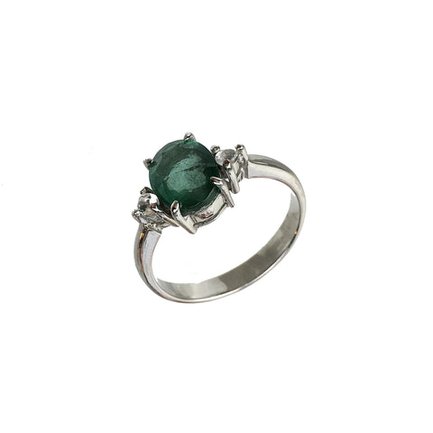 Oval Cut Green Emerald White Sapphire Ring