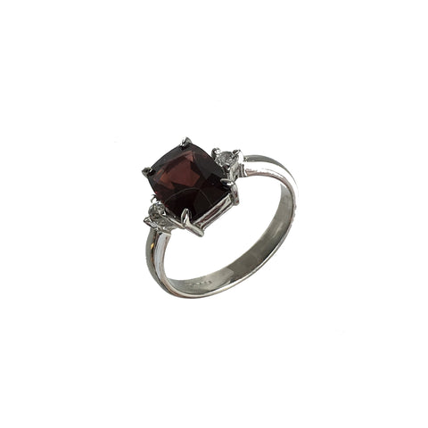 Oval Rhodolite Garnet and White Topaz Ring