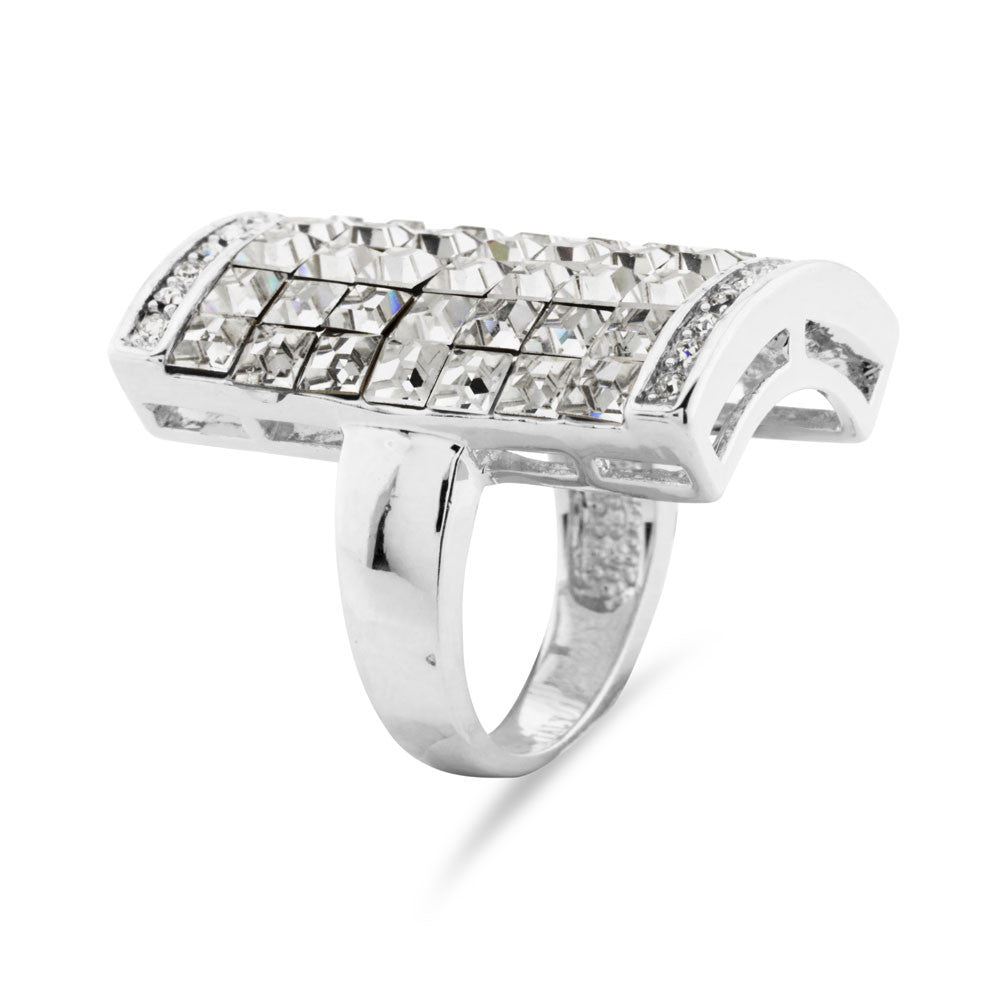 Statement Pave Rectangular Ring - www.sparklingjewellery.com