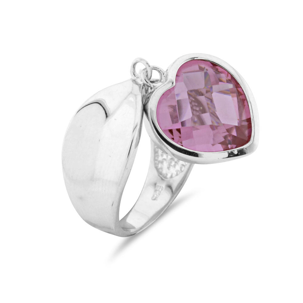 Pink Heart Charm Ring - www.sparklingjewellery.com