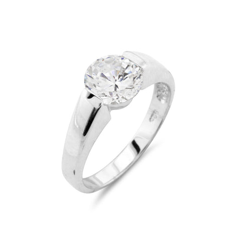 Silver Round Solitaire Ring