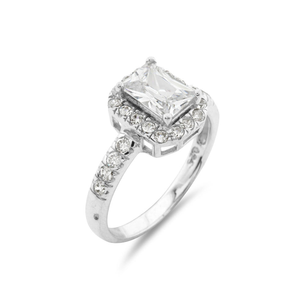 Emerald Cut Halo Silver Engagement Ring - www.sparklingjewellery.com