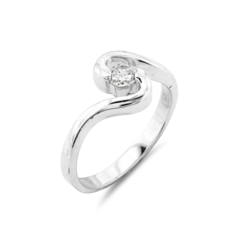 Twist Small Solitaire Ring - www.sparklingjewellery.com