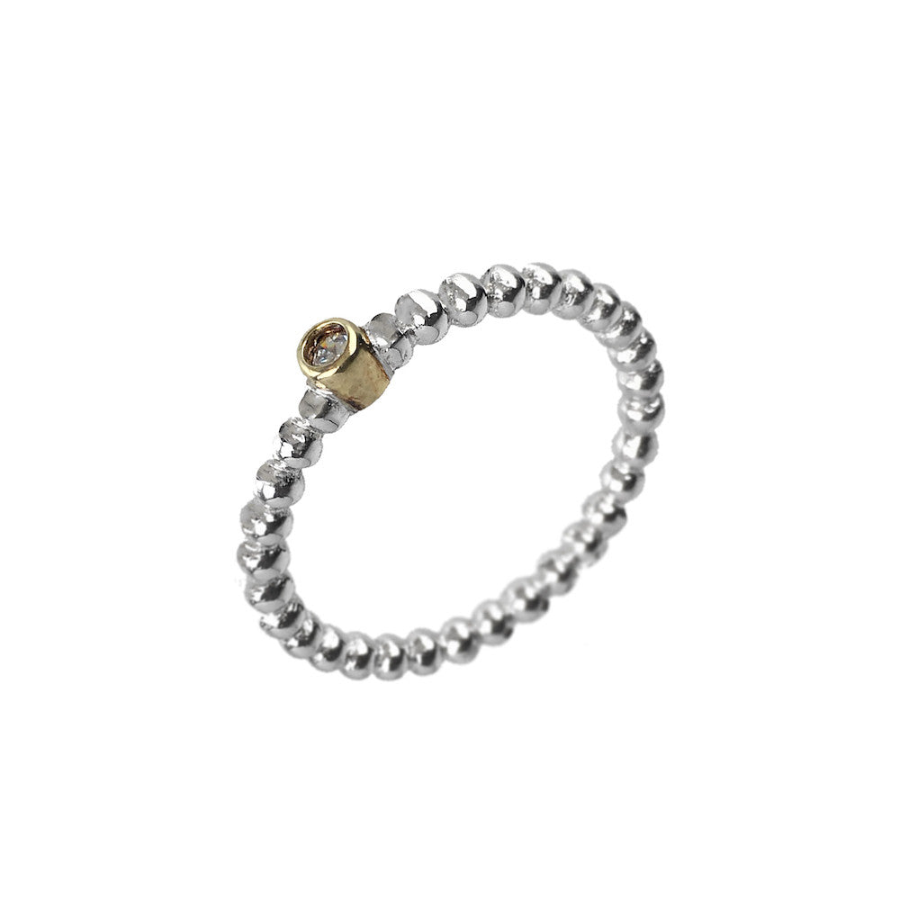 Gold & Silver Ball Layer Ring - www.sparklingjewellery.com