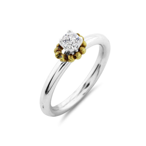 Solitaire Stack Halo Ring