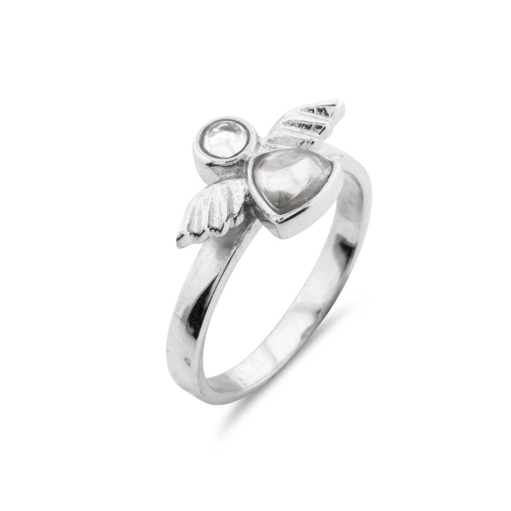 Silver Guardian Angel Ring - www.sparklingjewellery.com
