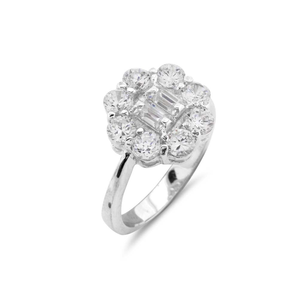 Art Deco Silver Cluster Ring - www.sparklingjewellery.com